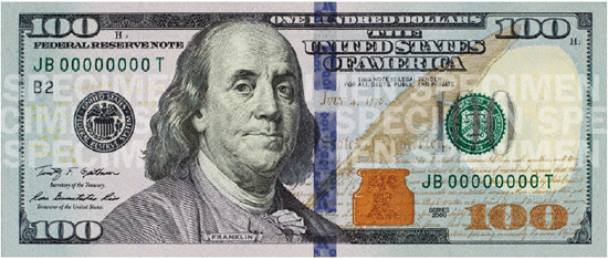 Picture of the New 100 Dollar Bill
